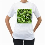 Retro Green Abstract Women s T-Shirt (White)