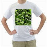 Retro Green Abstract Men s T-Shirt (White)