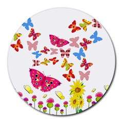 Butterfly Beauty 8  Mouse Pad (round) by StuffOrSomething
