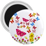 Butterfly Beauty 3  Button Magnet
