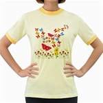 Butterfly Beauty Women s Ringer T-shirt (Colored)