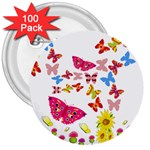 Butterfly Beauty 3  Button (100 pack)