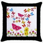 Butterfly Beauty Black Throw Pillow Case