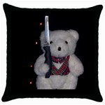 Cute Killer Teddy Throw Pillow Case (Black)