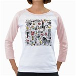 Medieval Mash Up Women s Long Cap Sleeve T-Shirt (White)