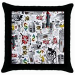 Medieval Mash Up Black Throw Pillow Case