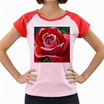 Red Rose Women s Cap Sleeve T-Shirt