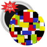 Mod Geometric 3  Button Magnet (100 pack)
