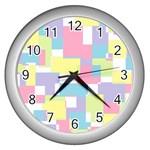Mod Pastel Geometric Wall Clock (Silver)