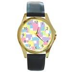 Mod Pastel Geometric Round Leather Watch (Gold Rim)