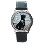 Black German Shepherd Round Leather Watch (Silver Rim)