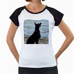 Black German Shepherd Women s Cap Sleeve T-Shirt (White)