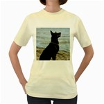 Black German Shepherd Women s T-shirt (Yellow)