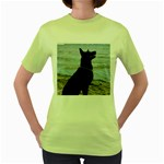 Black German Shepherd Women s T-shirt (Green)
