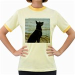 Black German Shepherd Women s Ringer T-shirt (Colored)