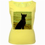 Black German Shepherd Women s Tank Top (Yellow)