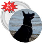 Black German Shepherd 3  Button (100 pack)