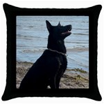 Black German Shepherd Black Throw Pillow Case