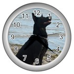 Black German Shepherd Wall Clock (Silver)