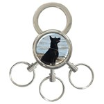 Black German Shepherd 3-Ring Key Chain
