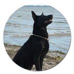 Black German Shepherd Magnet 5  (Round)