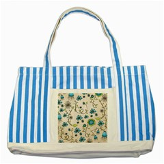 Whimsical Flowers Blue Blue Striped Tote Bag by Zandiepants