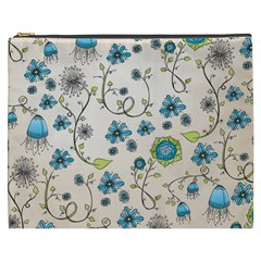 Whimsical Flowers Blue Cosmetic Bag (xxxl) by Zandiepants