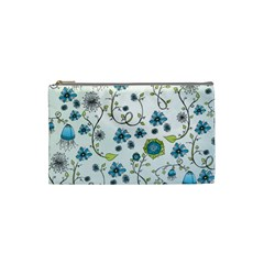 Blue Whimsical Flowers  On Blue Cosmetic Bag (small) by Zandiepants