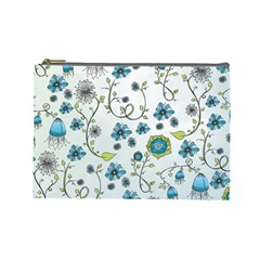 Blue Whimsical Flowers  On Blue Cosmetic Bag (large)