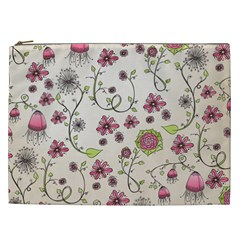 Pink Whimsical Flowers On Beige Cosmetic Bag (xxl) by Zandiepants