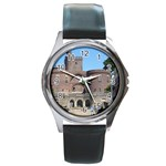 Helsingborg Castle Round Leather Watch (Silver Rim)