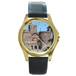 Helsingborg Castle Round Leather Watch (Gold Rim)