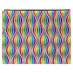 Rainbow Waves Cosmetic Bag (xxxl) by Colorfulplayground