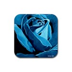 Blue Rose Painting Rubber Square Coaster (4 pack)