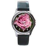 Dusty Pink Rose Round Metal Watch