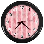 Pink Grunge Wall Clock (Black)