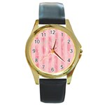Pink Grunge Round Leather Watch (Gold Rim)