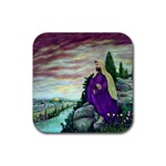 Jesus Overlooking Jerusalem-by AveHurley of ArtRevu - Rubber Square Coaster (4 pack)
