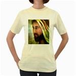 Jesus - Eyes of Compassion - Ave Hurley - Women s Yellow T-Shirt