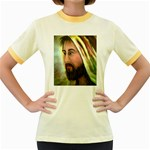 Jesus - Eyes of Compassion - Ave Hurley - Women s Fitted Ringer T-Shirt