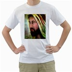 Jesus - Eyes of Compassion - Ave Hurley - Men s T-Shirt (White) (Two Sided)