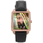 Jesus - Eyes of Compassion - Ave Hurley - Rose Gold Leather Watch