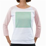 Hearts & Stripes Women s Long Cap Sleeve T-Shirt (White)