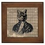 Harlequin Cat Framed Ceramic Tile