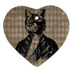 Harlequin Cat Heart Ornament