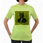 Harlequin Cat Women s T-shirt (Green)