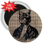 Harlequin Cat 3  Button Magnet (100 pack)