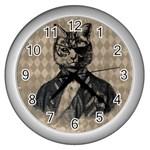 Harlequin Cat Wall Clock (Silver)