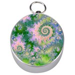 Rose Apple Green Dreams, Abstract Water Garden Silver Compass
