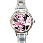 Fantasy In Pink Round Italian Charm Watch